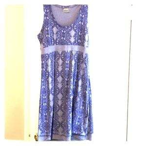Cotton dress in different shades of lavender.